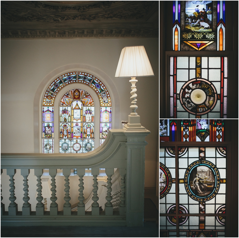 Stained glass window on stairway
