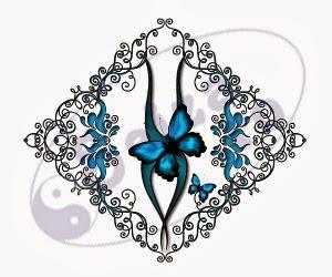 buterfly tattoo design / floral tattoo design