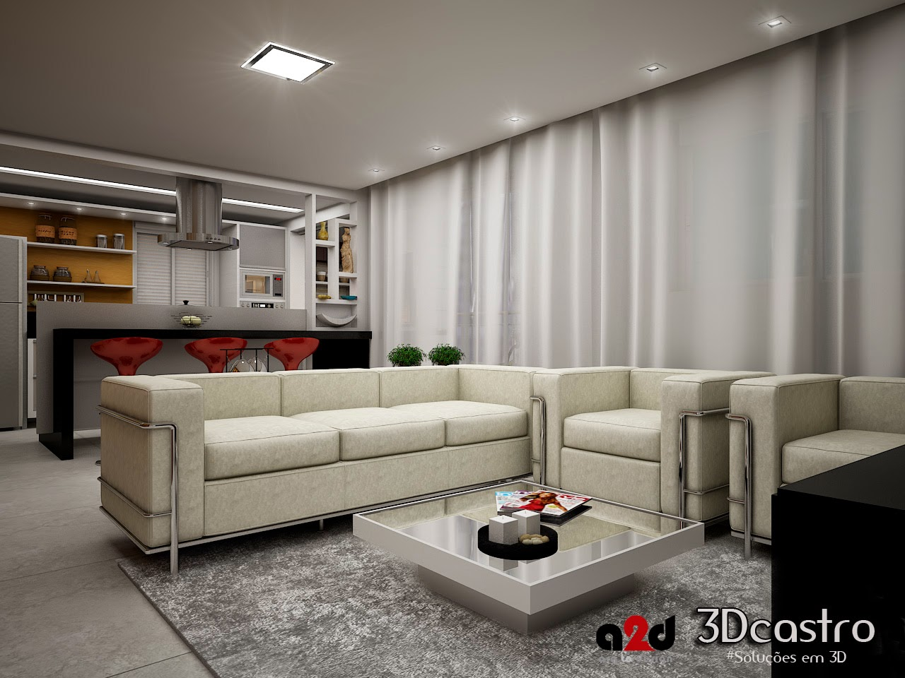 projeto de sala de estar e planta humanizada 3dcastro On planta de sala de estar 3d