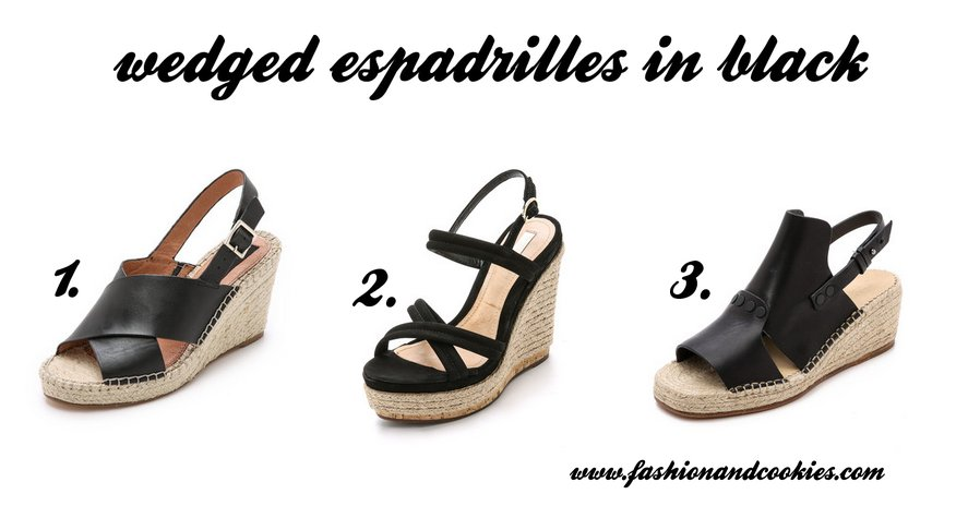 black wedged espadrilles selection on Fashion and Cookies fashion blog