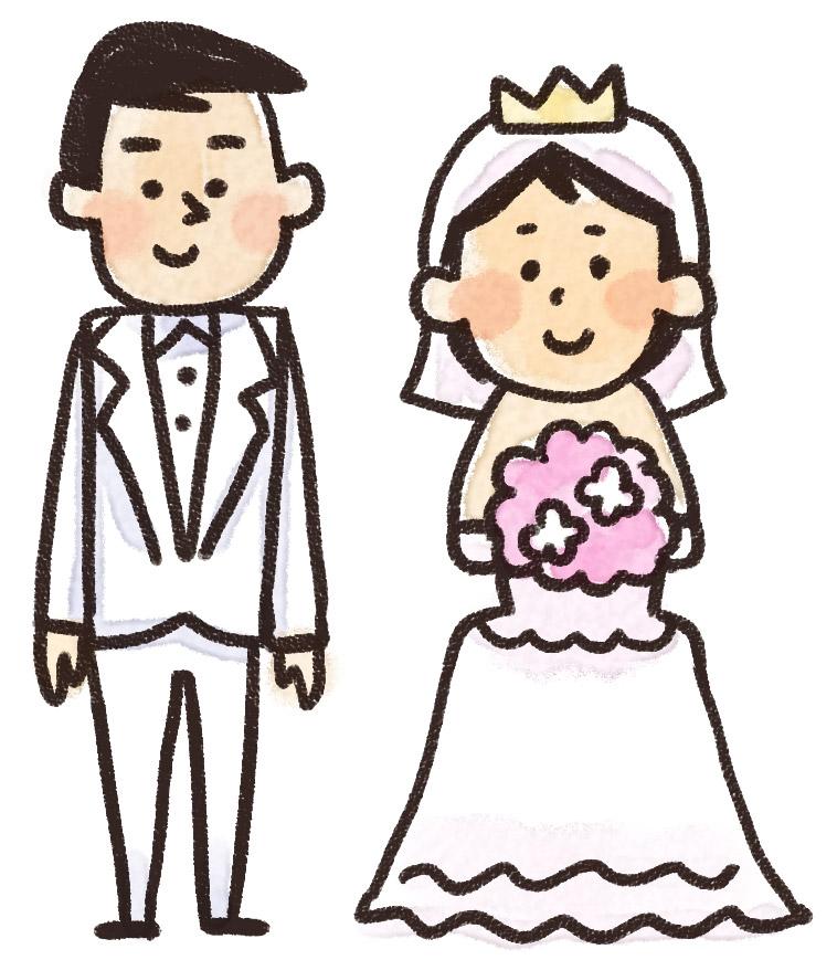 新郎新婦のイラスト(結婚式)