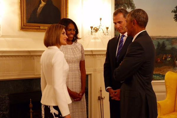 Queen Letizia of Spain meets with US First Lady Michelle Obama at the White House in Washington, DC, USA, Michelle Obama welcomed Queen Letizia to the White House
