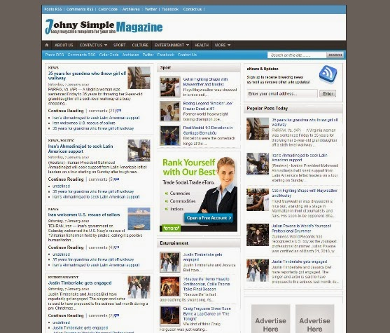 Johny Simple Magazine Blogger Template