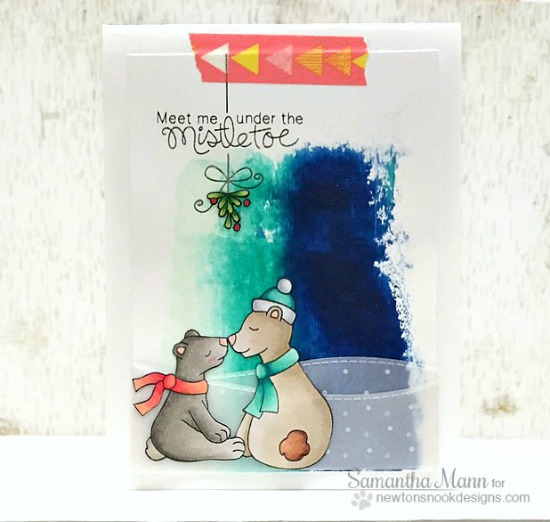 Kissing Bears Christmas Card by Samantha Mann | Holiday Smooches Stamp set by Newton's Nook Designs #newtonsnook