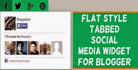 Flat Style Tabbed Social Media Widget for Blogger