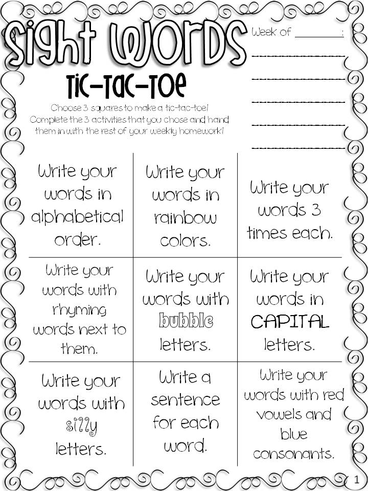 Shine: Spelling Tac Words word Sight &  All Can third free Toe sight Students FREEBIE worksheets Tic grade