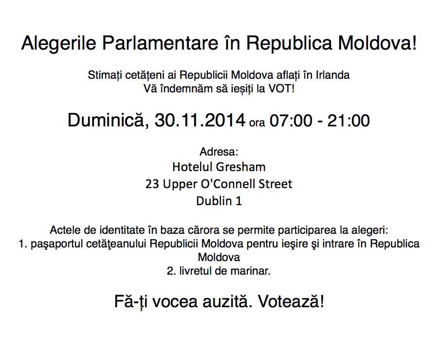 Alegeri Parlamentare în Republica Moldova 2014 - Dublin