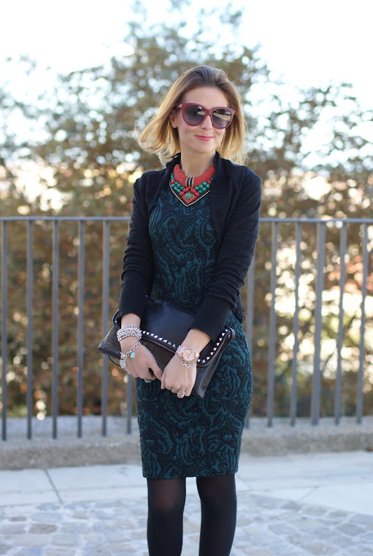 Tiffany infinity bracelet, green bodycon dress, statement necklace