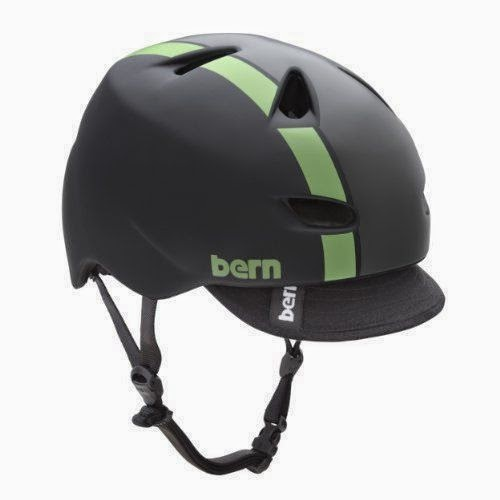 BERN Brentwood Matte Helmet with Visor (Black/Green Bomber, X-Large) - Bern NEW