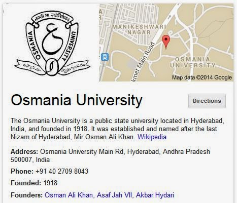 Osmania university B.E time table April-May 2014