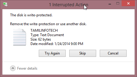 The disk is write protected on flash drive