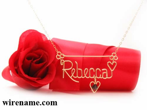 Gold-filled wire necklace personalized Jewelry - Rebecca