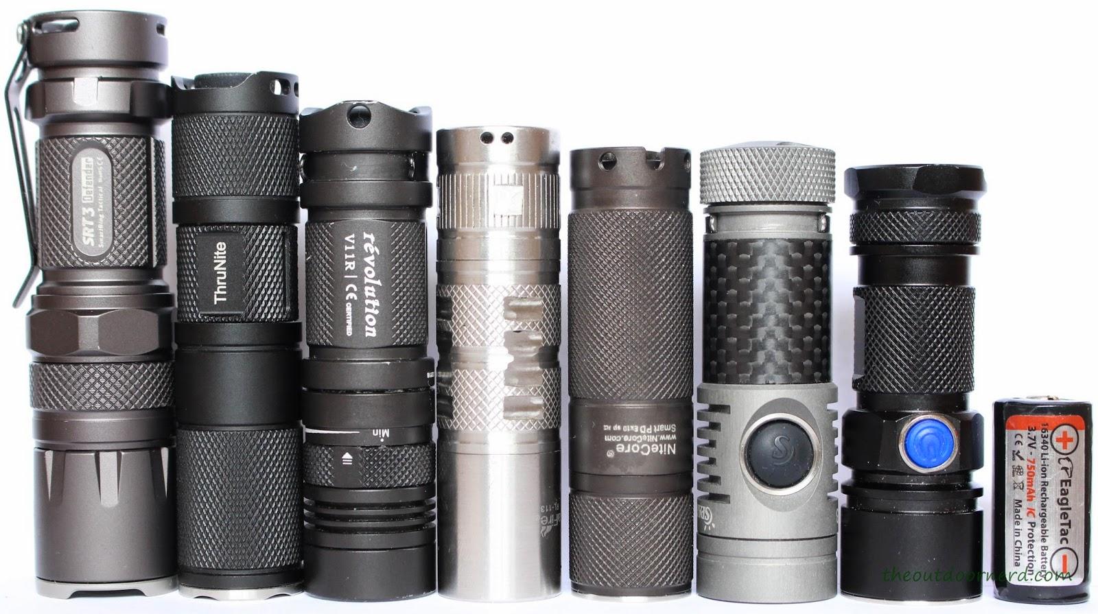 From Left: NiteCore SRT3, Thrunite Neutron 1C, Sunwayman V11R, UltraFire RJ118, Nitecore Ex10, Spark SF3, SolarStorm SC03