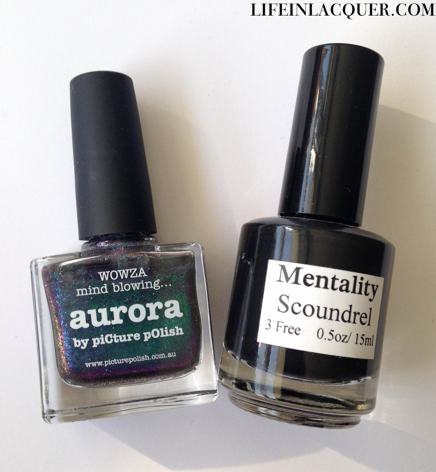 piCture pOlish Aurora and Mentality Scoundrel bottle shot