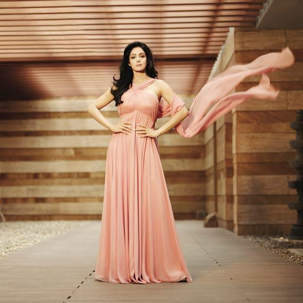 Sridevi posing in a peach pastel floor length dress - (3) - Sridevi PHOTOSHOOT HOT PICS