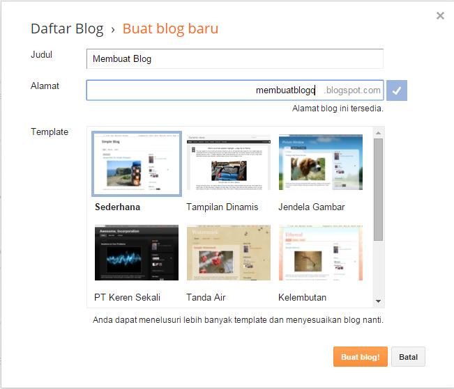 tampilan awal buat blog baru