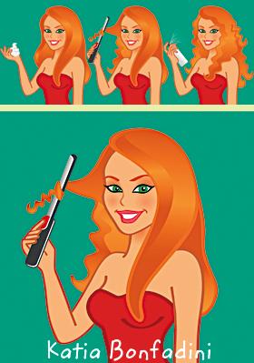 Ilustração para o passo a passo do hairstylist Marco Antonio di Biaggi no portal M DE MULHER