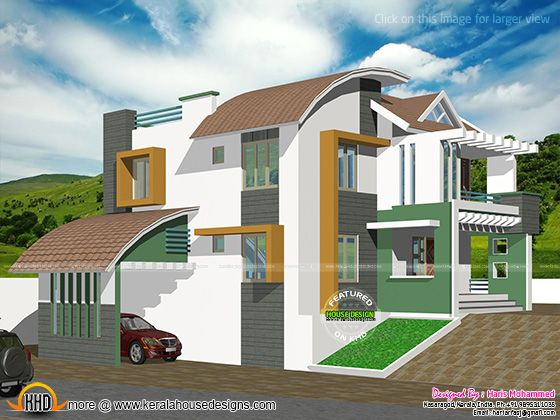 Contemporary hillside house kerala home design and floor for Contemporary hillside house plans