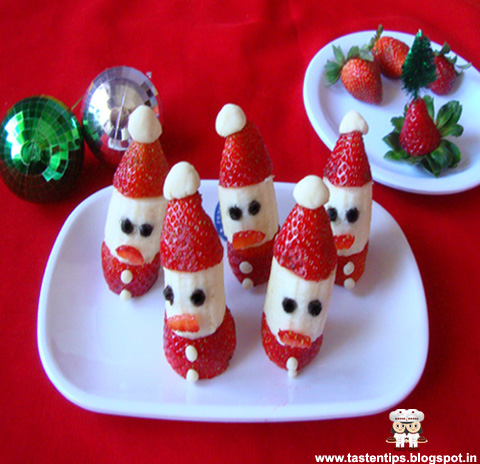 "Strawberry Santa Hats Wish You a "" Merry Christmas""."