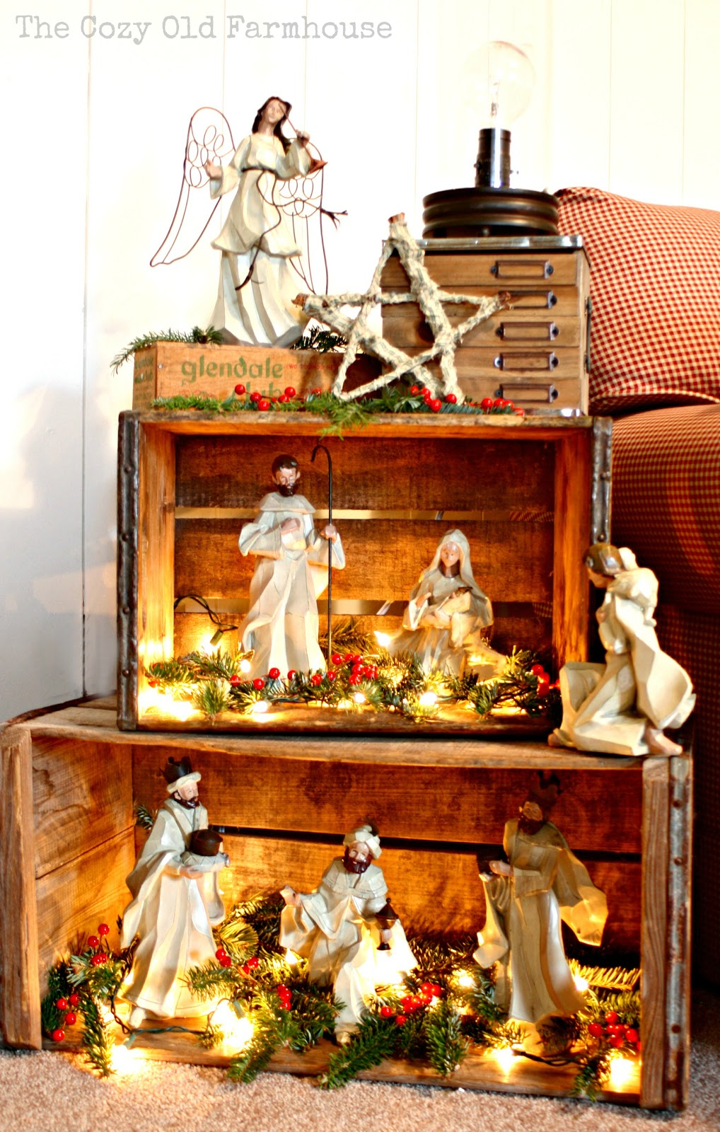 The cozy old farmhouse rustic nativity with crates for Scene ideas