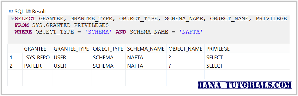 HANA List users with schema access