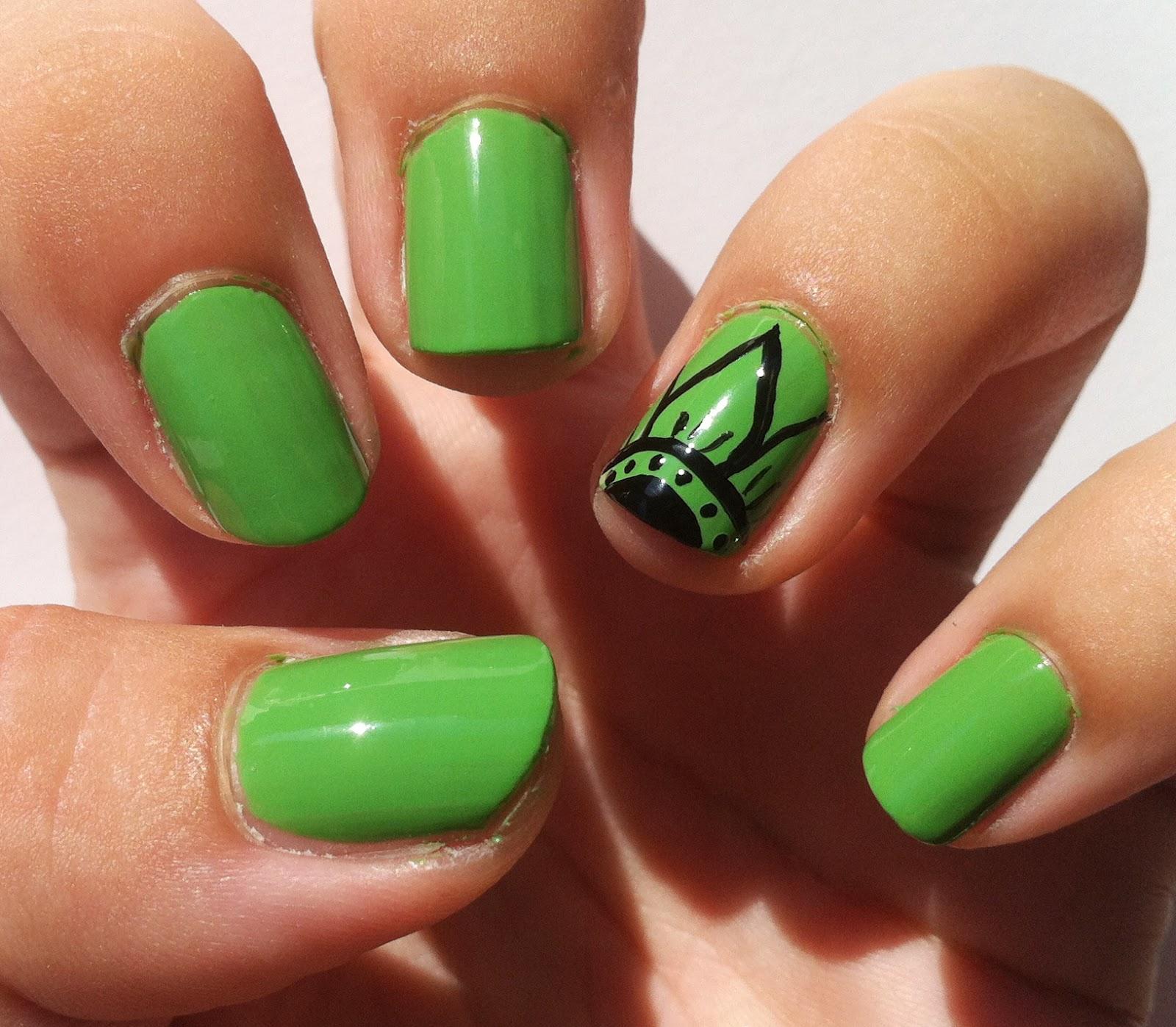 sabrina 39 s make up diary flower on green nail design. Black Bedroom Furniture Sets. Home Design Ideas