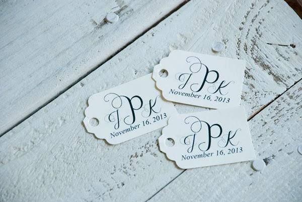 Diy Wedding Favor Tags : Easy DIY monogram wedding favor tags VINTAGE ROMANCE STYLE
