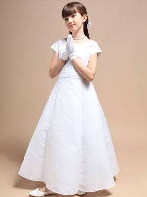 Classic+A-line+Satin+Communion+Flower+Girl+Dress