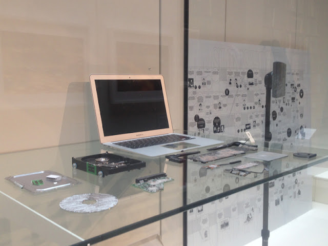 The laptop used by the Gaurdian in accessing Edward Snowden's leaked files on display at the V&A, London