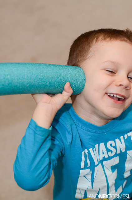 How to use a pool noodle to work on volume control with kids - great idea for kids with autism from And Next Comes L