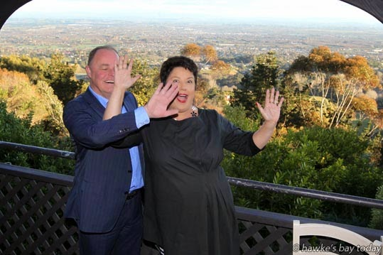 L-R: Craig Foss, National MP, Tukituki electorate; Paula Bennett, Minister for Social Development and Local Government and Associate Minister of Housing - breakfast at The Peak, Havelock North photograph