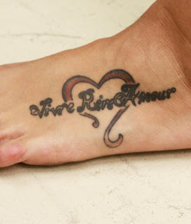 Heart and Script Foot Tattoo Design