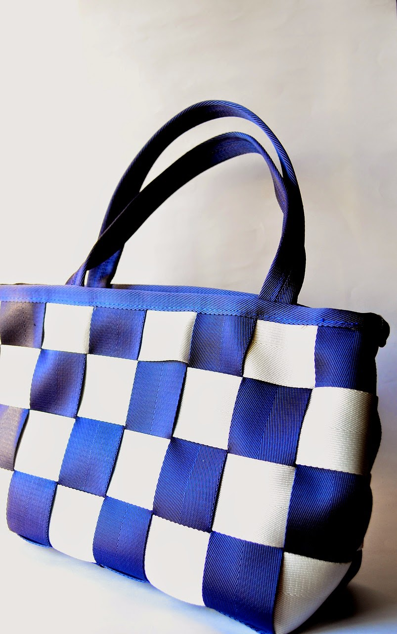 Designer Tote Handbag Blue Chequered