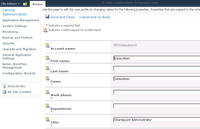 sharepoint 2010 mysite active directory attributes