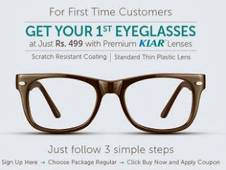 Your First Eyeglasses with Premium K-LAR Scratch Resistant Lenses just for Rs.499 (Valid for First Time Customers)