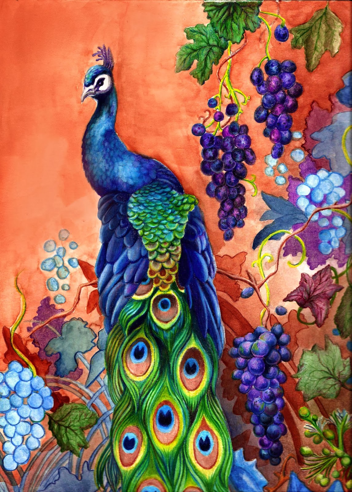 peacock bird artwork with grapes