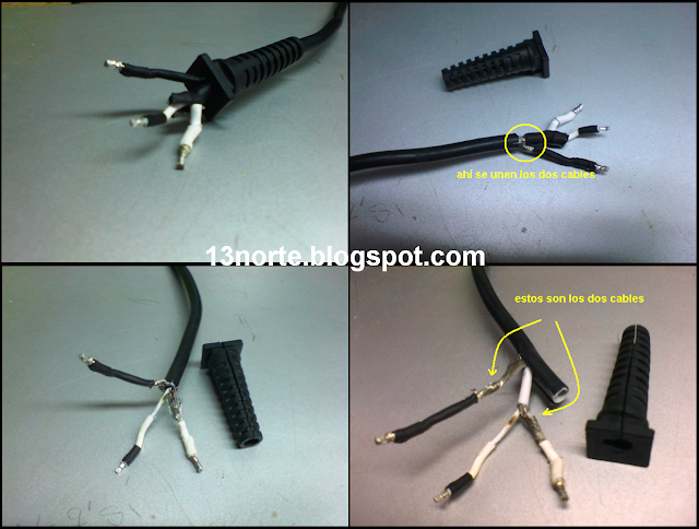 cables en corto cargador hp compaq