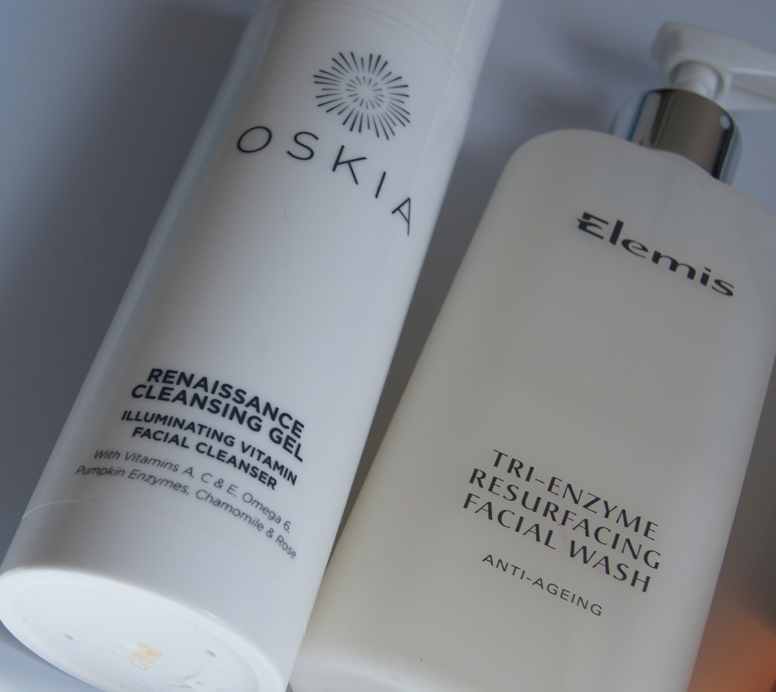 Oskia renaissance cleansing gel review, Elemis tri-enzyme resurfacing facial wash