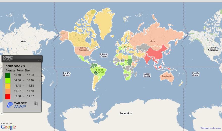 Una web traza un mapa del tamaño de los penes en el mundo