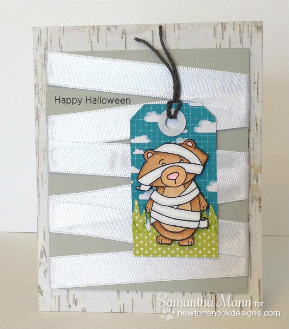 Mummy Bear Halloween card by Samantha Mann for Newton's Nook Designs