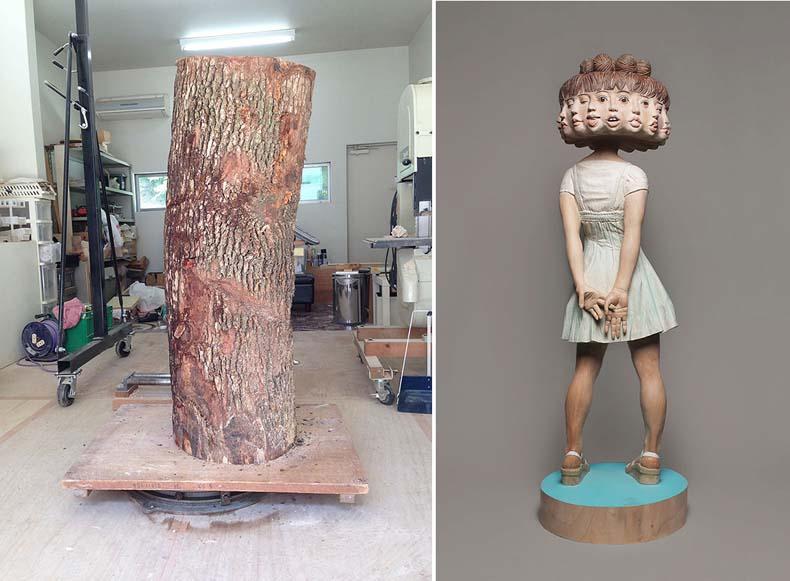 Artista japonés convierte tronco de árbol en extraña escultura de muchacha de doce caras