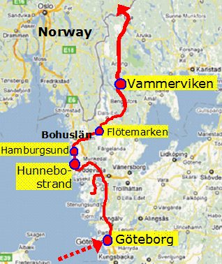 map of denmark and norway. to Norway from Denmark,