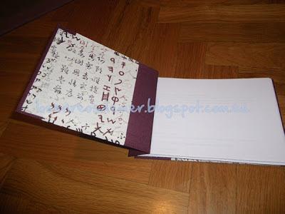 Interior de libreta realizada en cartonaje