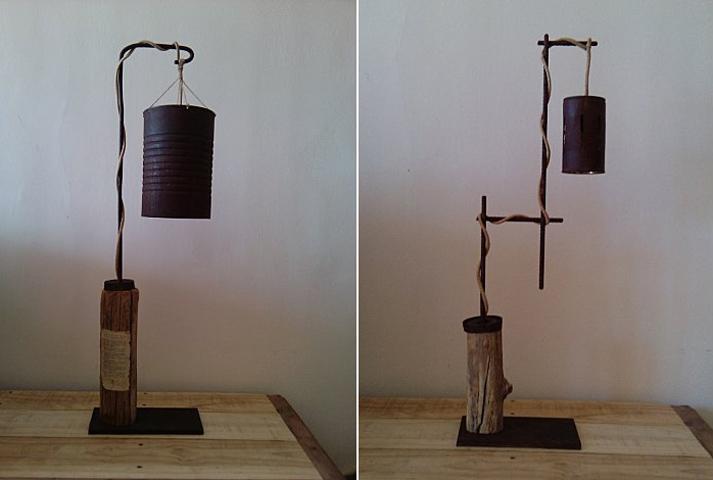 L mparas con metal reciclado decoraci n r stica - Lamparas rusticas de madera ...