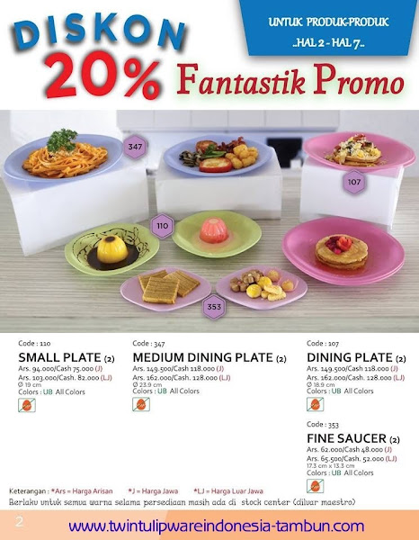 Promo Diskon Tulipware | September - Oktober 2015, Small Plate, Medium Dining Plate, Fine Saucer