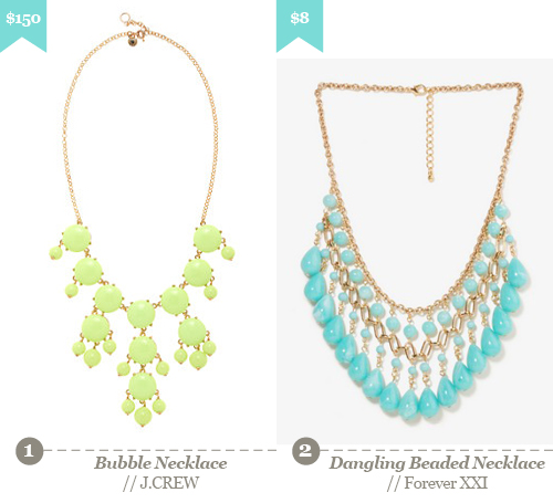 1. J CREW - Bubble Necklace, 2. Forever XXI - dangling beaded necklace