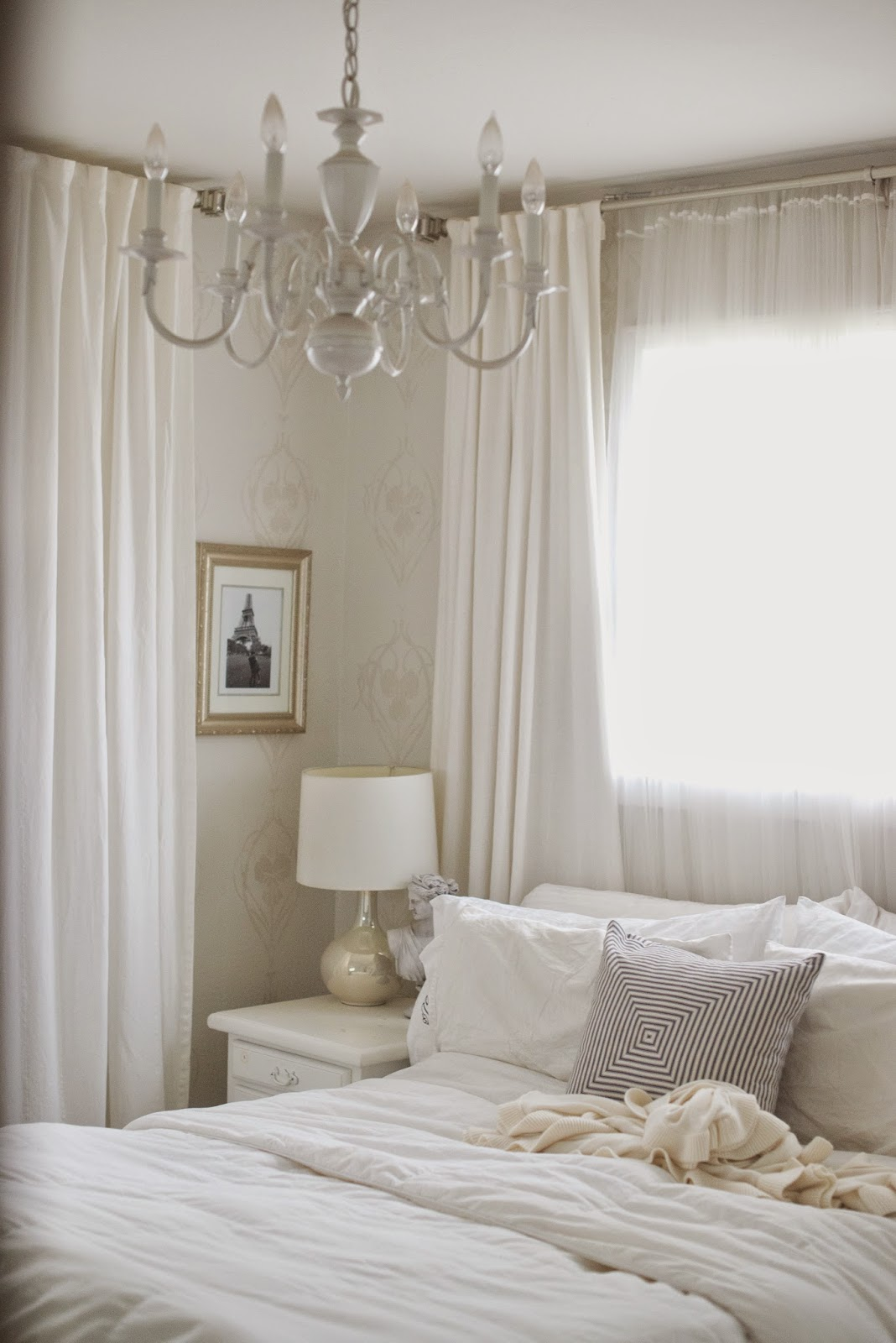 gold and white master bedroom Domestic Fashionista: Updates to Our Master Bedroom: Adding Gold and Travel Art