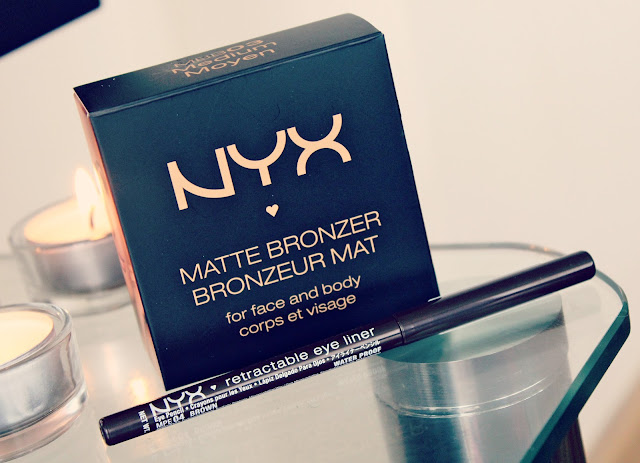 NYX Matte Bronzer Review, NYX Retractable Eyeliner Reviews, NYX Cosmetics UK, UK Beauty Blog, NYX Blogger of the Month, NYX Medium Matte Bronzer Swatches, NYX Brow Retractable Eyeliner Swatches, NYX Makeup Reviews
