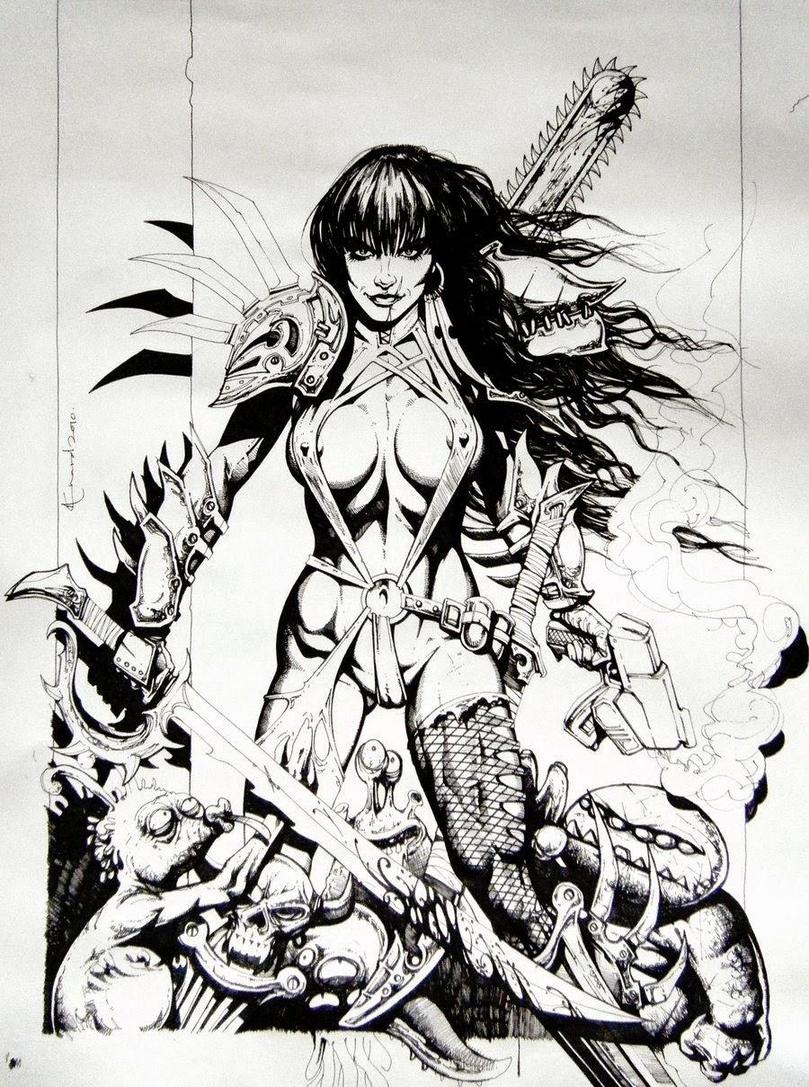 Dessin de Noël Guard représentant une jeune femme guerrière moderne avec une lame de tronçonneuse dans le dos