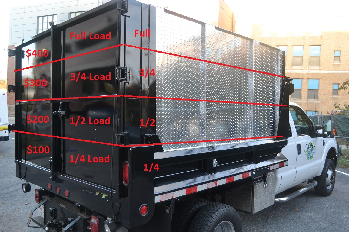We charge by the truck load and the truck that we use is a 6 wheel dump truck that roughly holds 13 cubic yards of debris the truck body measures 9 long
